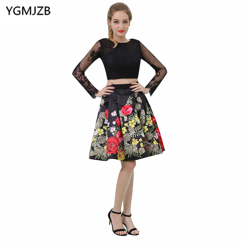 Short   Cocktail     Dresses   2018 A Line Scoop Long Sleeve Appliques Lace Floral Print Two Pieces Prom   Dresses   Mini Party   Dresses