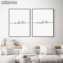 Motivational Wall Art Inhale Exhale Canvas Print Painting Quotes Poster Picture Yoga Decoration Home Decor