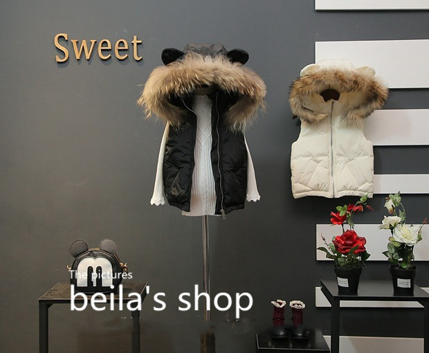 2017 winter new female children three-dimensional small ears fur hooded vest thick coat quilted vest cotton jacket hot style three points children quilted loose coat