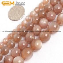 597b78a32fd2 Gema-Dentro 6-12mm Piedra Natural Luna naranja para la joyería que hace los granos  15 pulgadas DIY perlas joyas regalo