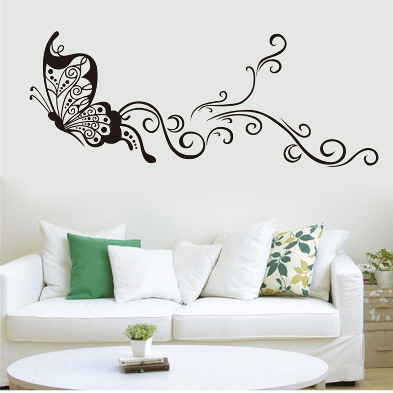 Low Price Home Decor: Lowest Price Calssic Black Butterfly Flower Wall Sticker