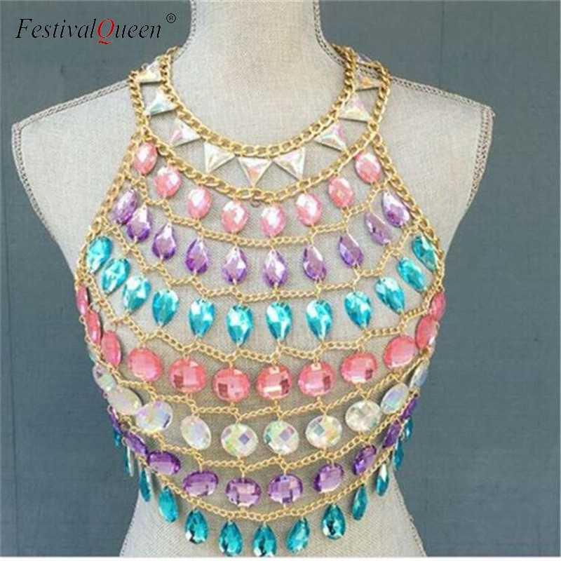 2edff3fd ... FestivalQueen womens crystal metal chain crop top gem sequins summer  beach hollow out sparkly halter nightclub ...