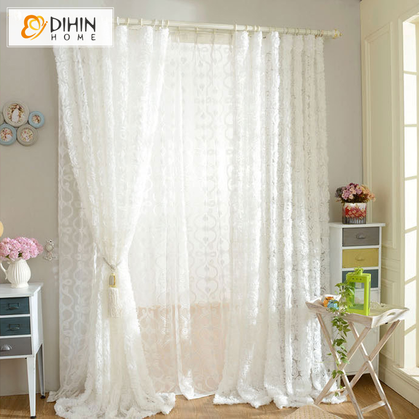 DIHIN 1 Piece Rose Shaped White Tulle Curtain For Bedroom