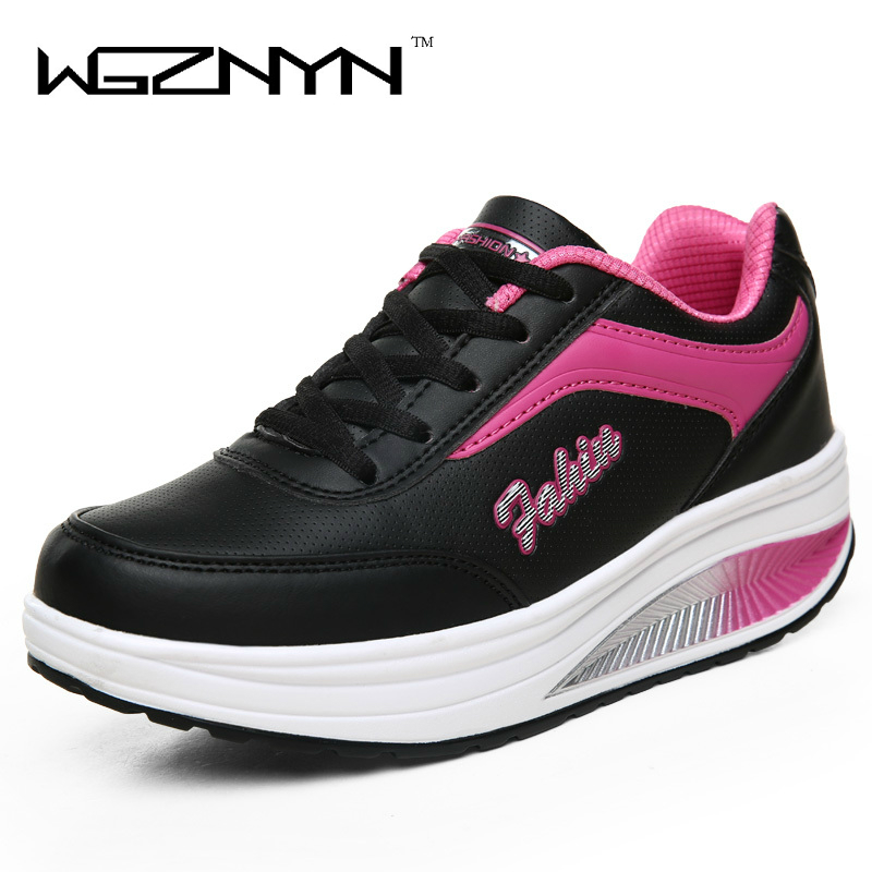 WGZNYN 2017 New Arrival Fashion Pu Leather Women Shoes Casual Shoes Femlae Comfortable Platform Shoes Woman Flats Free Shipping 2016 new arrival woman flats genuine leather white women casual shoes platform hot sale designer flat shoes drop shipping