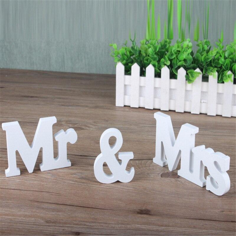 1 Set Effen Hoofdstad Mr & Mrs Houten Letters Voor Bruiloft Banket Decoratie Teken Top Tafel Present Decor Driedimensionale Wit Aangenaam Voor Het Gehemelte