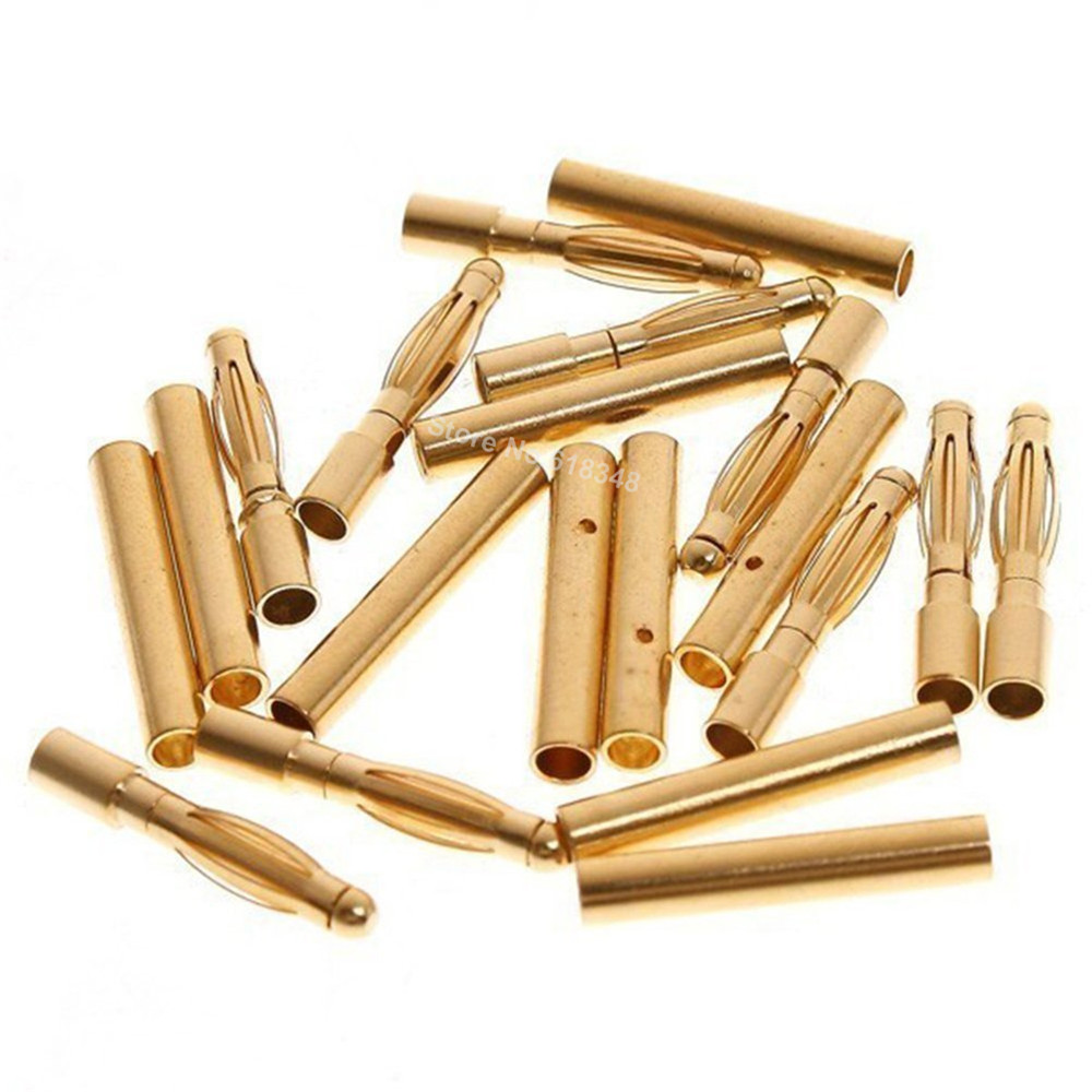 20 Pairs 2mm Gold Bullet Banana Plug Connector RC Battery ESC Replacement For RC Airplane Car