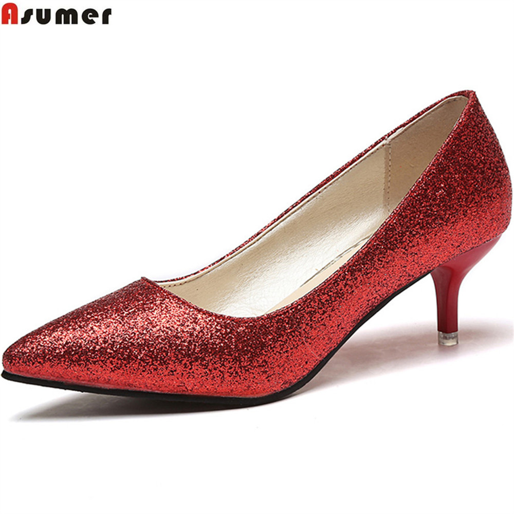 ASUMER 2018 black red sliver fashion new arrival women pumps pointed toe ladies shoes shallow elegant bling high heels shoes