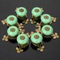8 Pcs Móveis Puxadores Puxadores de Cerâmica e Alças Porta Do Armário Da Gaveta Da Cozinha Pull Handle Móveis Encaixe de Bronze Verde
