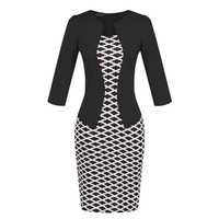 Mock Two Piece Office Dress Suits Women Summer Casual Elegant Clothing Female Career Wear Casual Work