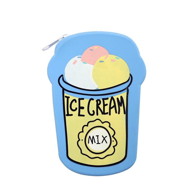 Creative Cute Cartoon Ice Cream Design Coin Purse Women Girls Small Wallet Soft Silicone Zipper Pouch Kid Gift BAGTALK AA29019