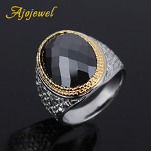 Size 10 Big Black Stone Vintage Oxidized Male Finger Rings With Zircon Crystal Jewelry Luxury Elegant Style