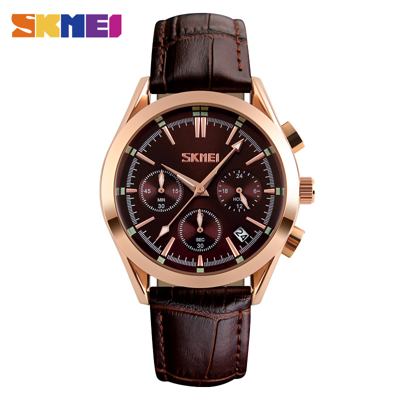 SKMEI 9127 Men Quartz Wristwatches Fashion Casual Watch Leather Strap Complete Calendar Man Watches Auto Date Luxury Male Clock nary fashion watch leather strap men s watches quartz clock womens watch double calendar with date week lovers casual wristwatch