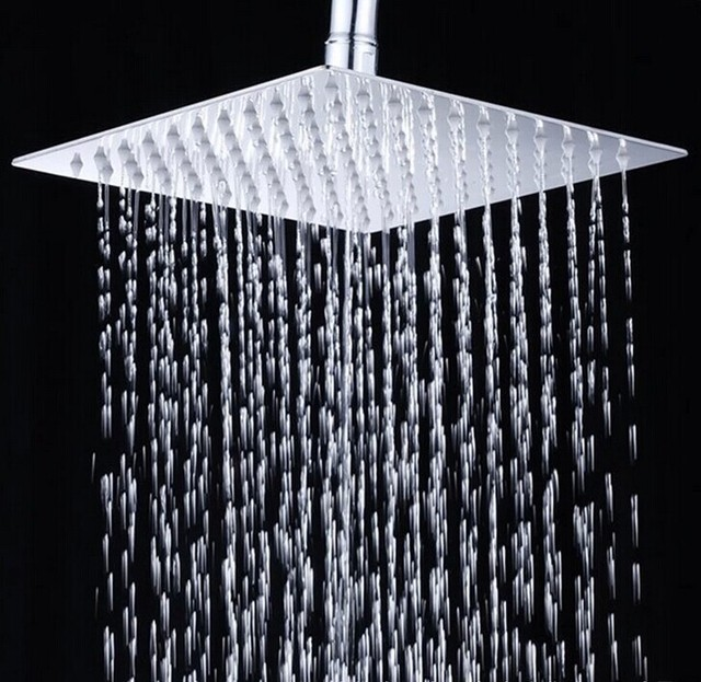 12 Inch Bathroom Shower Head 300*300mm Stainless Steel Super Thin Head  Shower Bathroom Showers