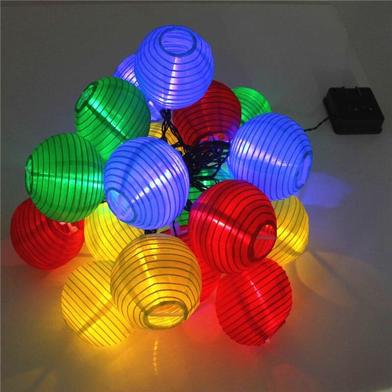 20 Led Wasserdichte Solar Power Laterne Lampe Festlichen Garten Kugel Schnur-feenhaftes Licht Farbe Weihnachten Außenbeleuchtung Vertrieb Von QualitäTssicherung