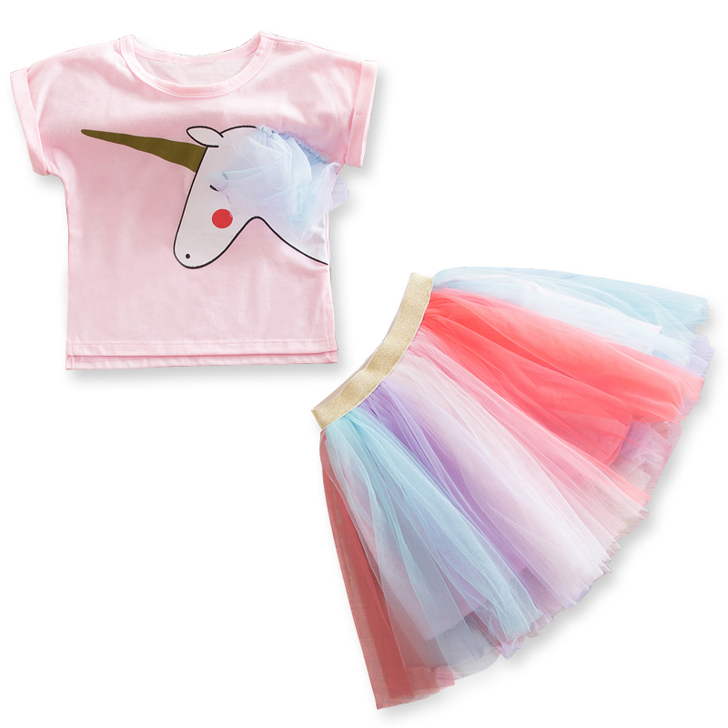 Baby Dresses for Girls Cartoon Unicorn Dress Girl Printed Colorful Tutu Vestido Summer T-Shirts+Net Veil Vestido Cheap Sundress