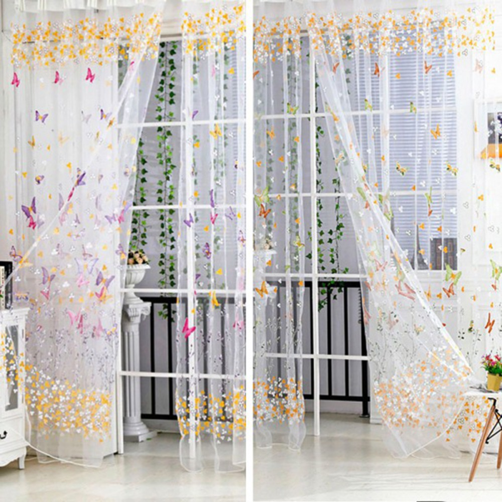 hot 100cm200cm big butterfly print sheer curtain panel window balcony tulle room divider curtain home decor