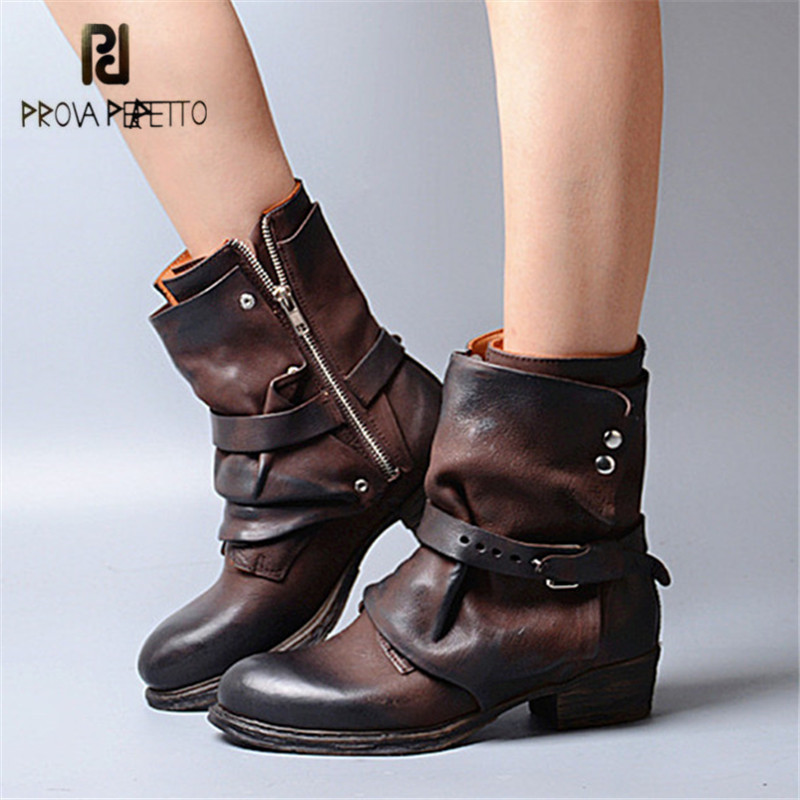 Prova Perfetto Fashion Winter Boots Genuine Leather Knight Botas Mujer Retro Straps Ankle Boots for Women Flat Shoes Woman prova perfetto winter women warm snow boots buckle straps genuine leather round toe low heel fur boots mid calf botas mujer