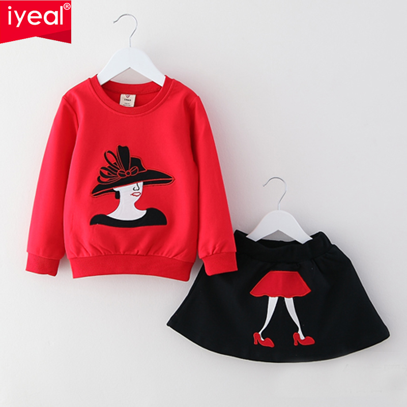 IYEAL New Spring Kids Clothes Girls Clothing Sets Baby Girl cartoon t-shirt With skirt Children Girl Suits for 2-8years 2Pcs/set fashion minnie t shirt long tutu skirt 2 pcs baby girls clothing children cartoon suits new summer clothes set free shipping