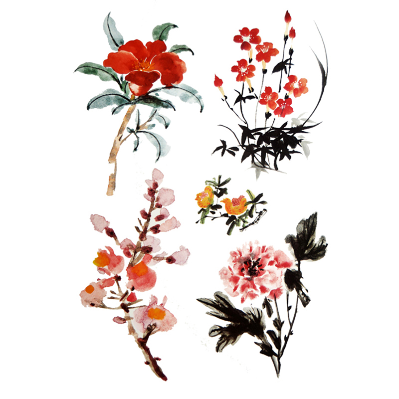 Chinese Tattoo Images Designs: Aliexpress.com : Buy 4 Flowers Chinese Ink Painting
