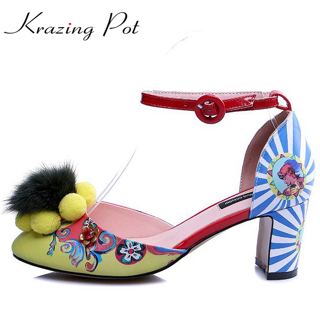 Krazing Pot colorful patterns flowers printing brand shoes peep toe thick high heels party wedding plus size luxury sandals L36 zorssar brand 2017 high quality sexy summer womens sandals peep toe high heels ladies wedding party shoes plus size 34 43