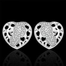 Estilo del verano fine silver plated pendientes 925-sterling-silver joyería del corazón del rhinestone stud pendientes para para SE370