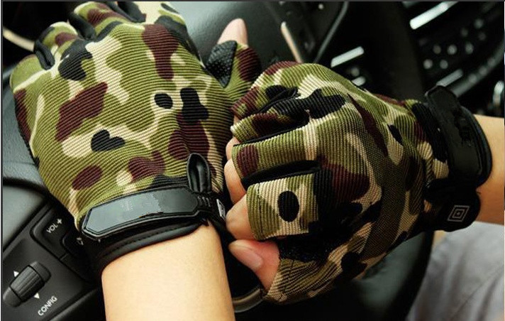 Men Women Camouflage Outdoor Hiking Gloves Gym Half Finger Gloves Multifunction Weight Lifting Anti-slip Gloves Free Shipping