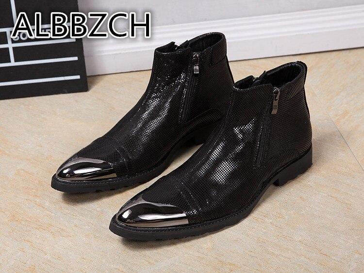 Pointed Toe Chelsea Men Boots Fashion Trend Dress Shoes Men's Luxury Black Ankle Boots Metal Designer Work Short Boots Big Yards