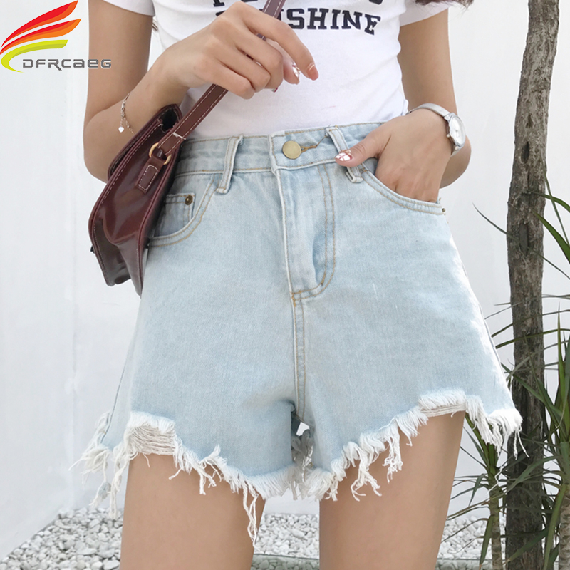 High Waist Hole Pockets Denim   Shorts   Women Streewear Cool   Short   Jeans Summer 2019 New Arrivals Black And Blue   Short     Shorts   Women