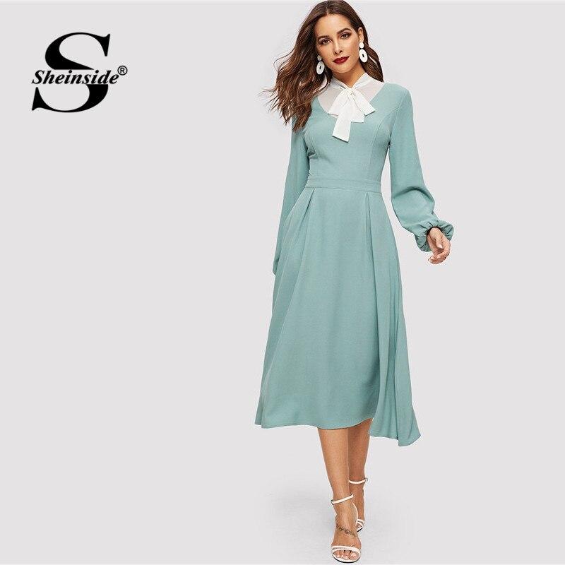 Sheinside Tied Contrast Yoke Box Pleated Dress High Waist Bishop Sleeve A Line Long Dress 2019 Spring Elegant Womens Dresses