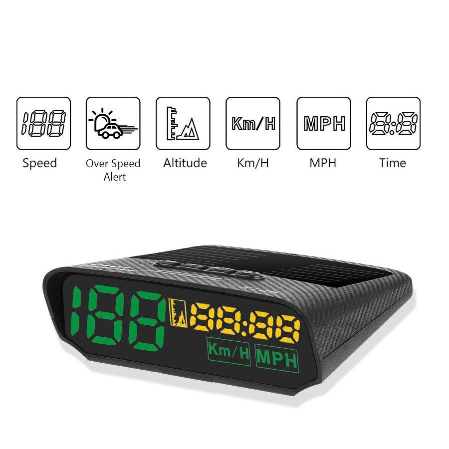 Affichage tête haute universel GPS voiture compteur de vitesse HUD automobile OBD énergie solaire Auto électronique temps vitesse compteur d'altitude vechili