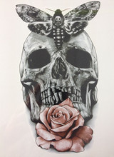 21 X 15 CM Skull With Moth And Flower Cool Beauty Tattoo Waterproof Hot Temporary Tattoo Stickers#8