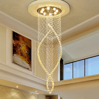 DHL Dia600*H2000mm Long LED Spiral Living K9 Crystal Chandeliers Lighting Indoor Fixture for Staircase Stair Lamp JF1777