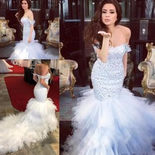 kejiadian Major Beading Mermaid Wedding Dresses Train