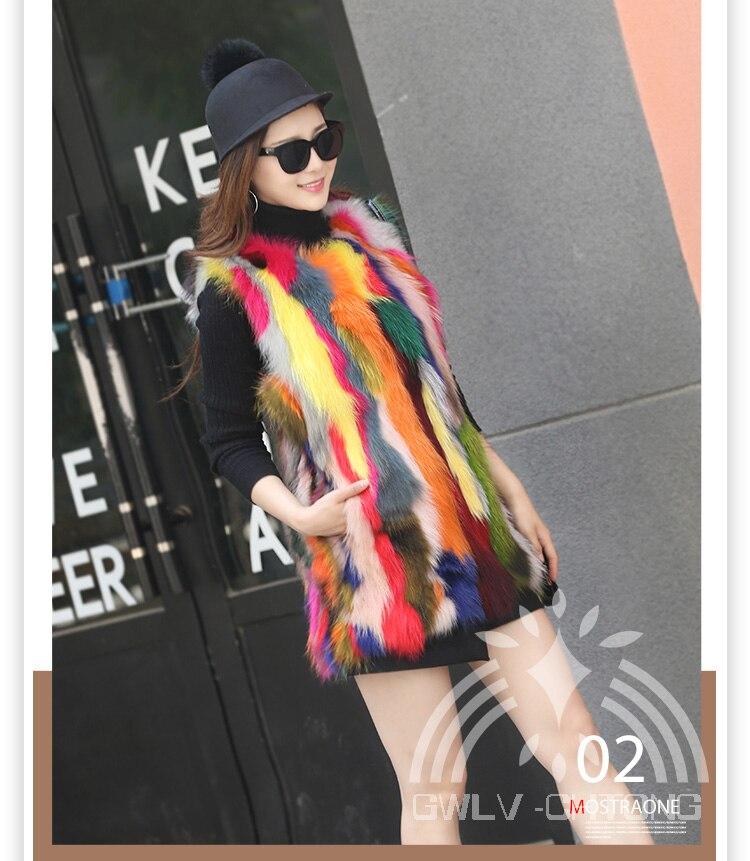 Femmes Coloré Personnalisé Raton Toutes Mode Veste Réel 100 Gilet Laveur Les Naturel Multi couleur De Fourrure Véritable Tailles 6zcxSOwq