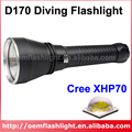 D170 Cree XHP70 White 4000 Lumens Stepless Adjusted Diving LED Flashlight - Black ( 2x26650 )