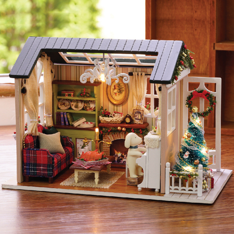 LED Light Miniature Furniture Doll House Dollhouse DIY Kit Wooden House Puzzles Model Toy for Kids Birthday Christmas Gifts (1)