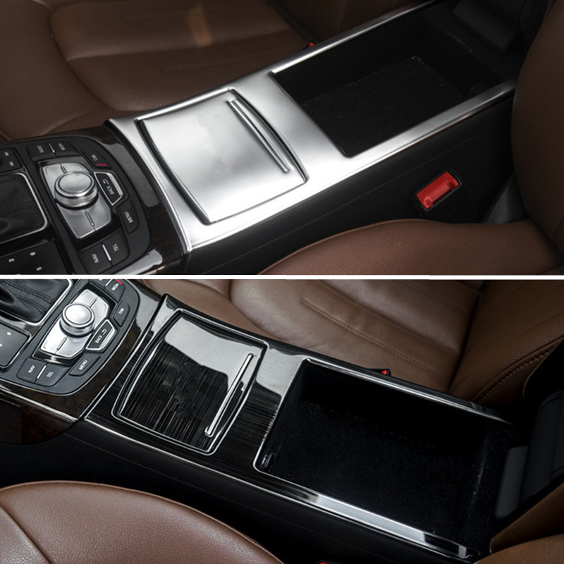 car console armrest storage box cover trim strip stainless steel styling inner water cup frame. Black Bedroom Furniture Sets. Home Design Ideas