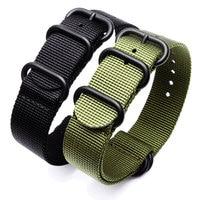 db9599f56d19 Sport Watchband Black Army Green ZULU Nato Nylon For Seiko TIMEX Canvas  Watch Strap Black Buckle