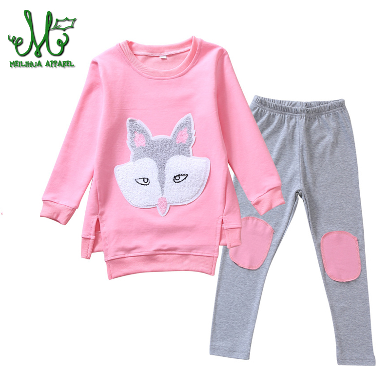 Girl Sportswear Spring Autumn Tracksuits Clothing Set Long Sleeve Fox T-shirt + Pants Fashion Sports Set for 6 8 10 12 14 year подушка classic by t classic by t mp002xu0dudh