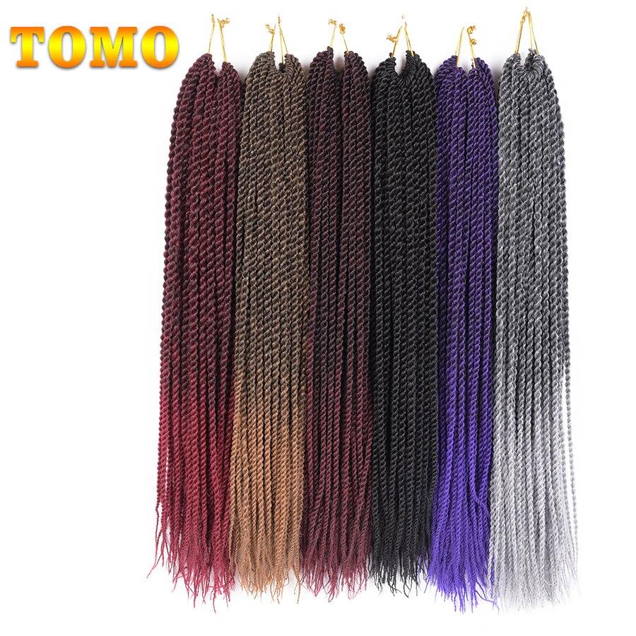 "TOMO Hair 30roots 14"" 16"" 18"" 20"" 22""  Synthetic Braiding Hair Ombre Kanekalon Senegalese Twist Hair Crochet Braids"