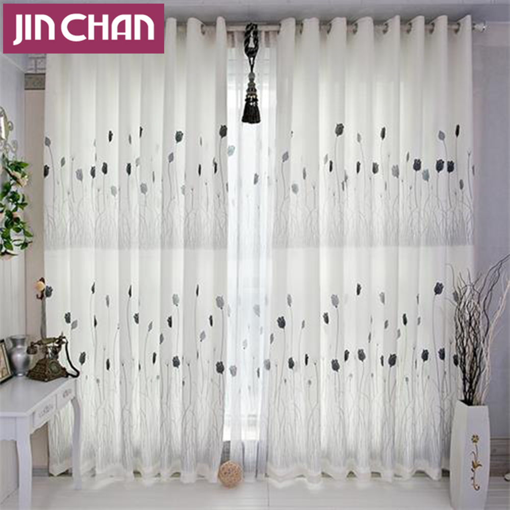 Polyester Fabric Floral Blackout Window Curtains Drapes Shades for ...