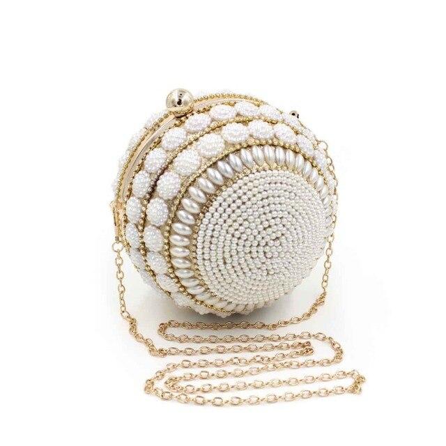 Luxury Brand Elegant Women Handbag Wedding Bridal Clutch Golden Silver  Pearl Beading Ring Evening Clutches Wristlets Handbag d60795bcfa44