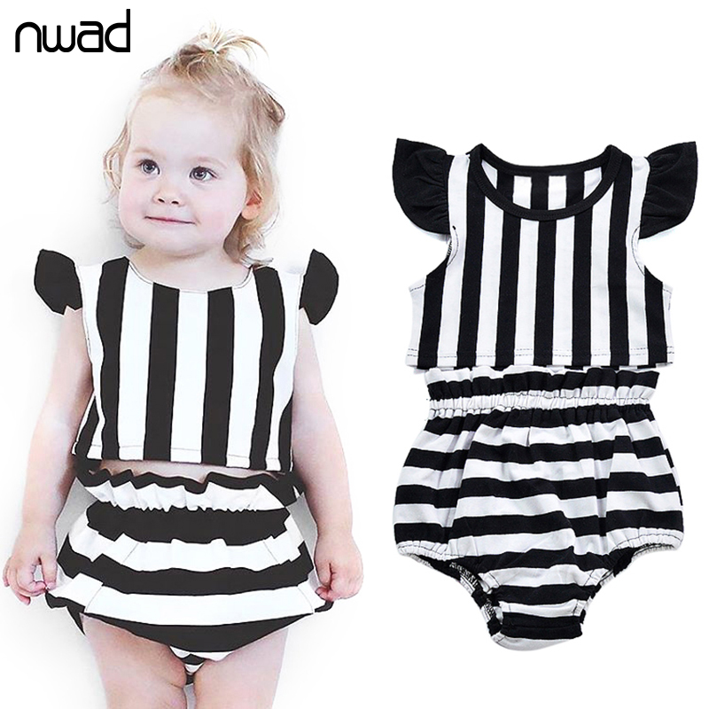 NWAD Summer Baby Girl Clothing Suit New Striped Cotton Clothes Sets For Newborn Baby Set Sleeveless Tops +Short Pants FF314