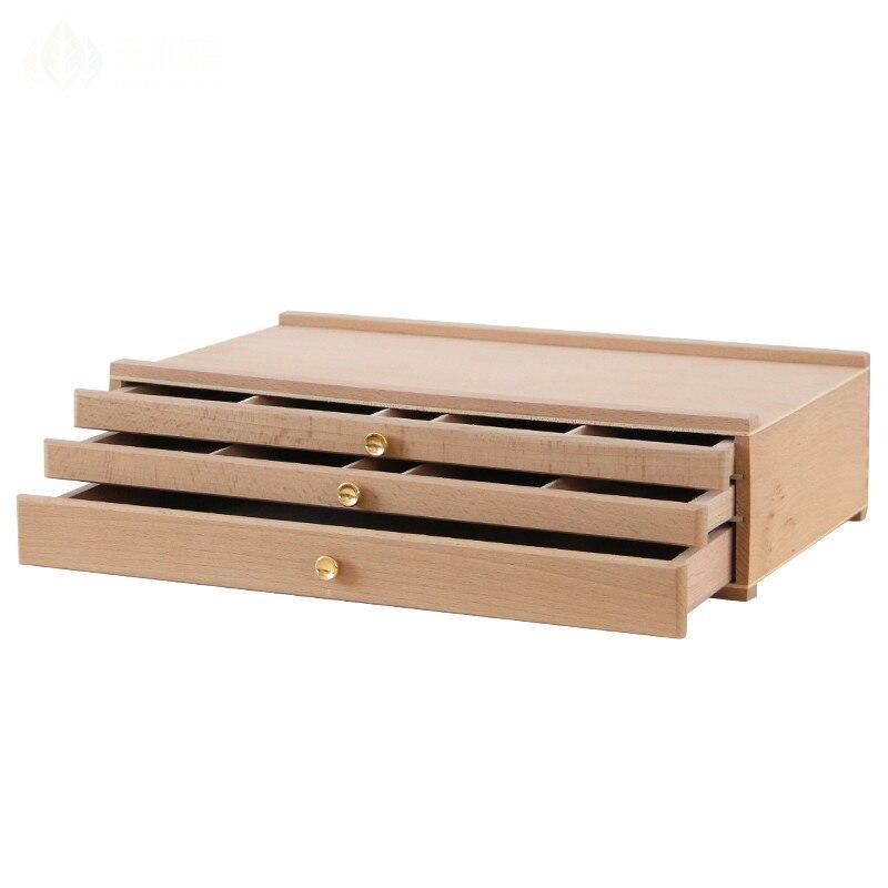 Haute qualité Portable en bois chevalet peinture boîte bureau croquis chevalet boîte trois couches tiroirs crayon rangement valise matériel