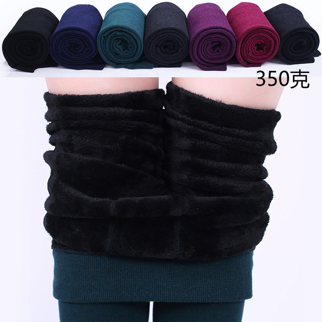 350g Newest Sexy Women Cotton Wool Thick leggings Women Foot Seamless Elastic Wool Winter Warm Velvet Stovepipe R252