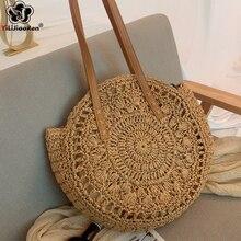 Fashion Round Straw Bags Women Summer Rattan Bag Handmade Woven Beach Large Tote Bohemian Ladies Handbag SAC
