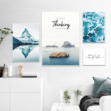 Seascape Print Picture Canvas Sea Art Painting Mountains Landscape Wall Nordic Poster Living Room Unframed