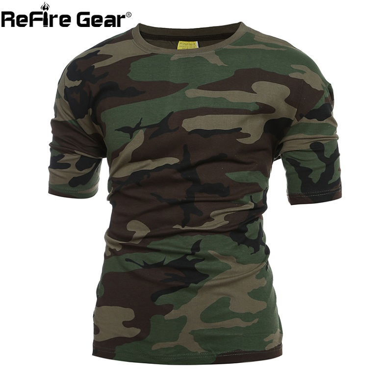 Refire Gear Military Camouflage Camouflage Military Tactical T-Shirt Men Summer Sawt Us Army Combat1 6c321b