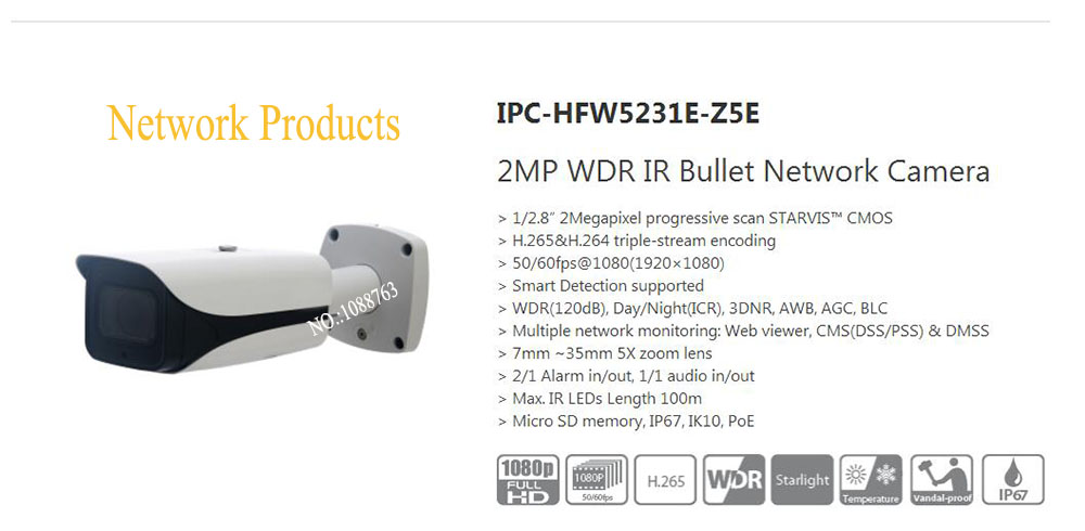 Free Shipping DAHUA Security IP Camera 2MP WDR IR Bullet Network Camera with POE without Logo IPC-HFW5231E-Z5E free shipping dahua security ip camera 2mp full hd wdr network small ir bullet camera outdoor camera without logo ipc hfw4221e