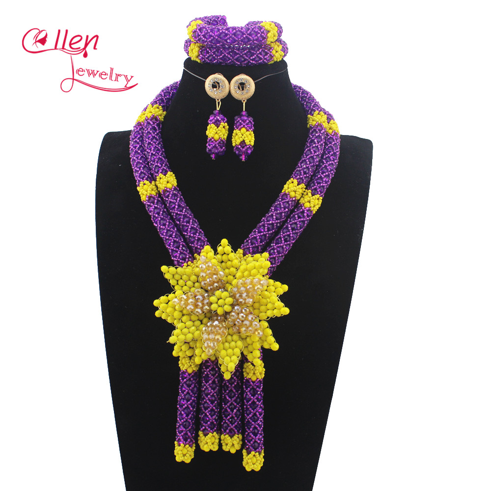 Shinny Colorful Flower Pendant Statement Necklace Set nigerian wedding Bridal Beads Costume African beads Jewelry Set W13026Shinny Colorful Flower Pendant Statement Necklace Set nigerian wedding Bridal Beads Costume African beads Jewelry Set W13026